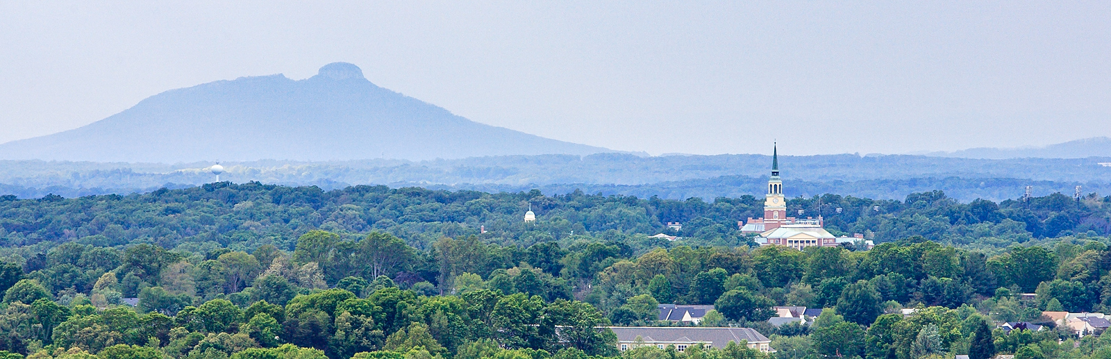Aerial view of Wait Chapel and Pilot Mountain